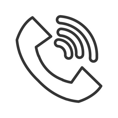 ringing phone: big black and white ringing phone over isolated background, communication concept, vector illustration Illustration