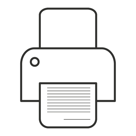 desktop printer: black and white printer with paper over isolated background, vector illustration