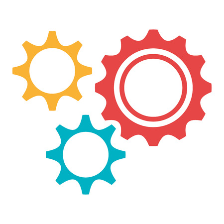 settings icon: yellow red and blue settings icon over isolated background, vector illustration