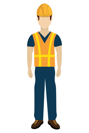 avatar construction man with colorful clothes and yellow helmet over isolated background, vector illustration