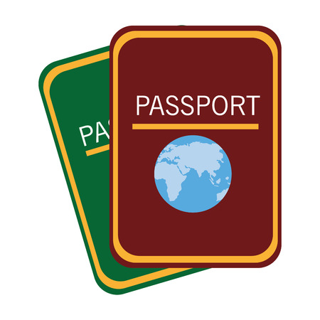 green adn red passports front view over isolated background, vector illustration