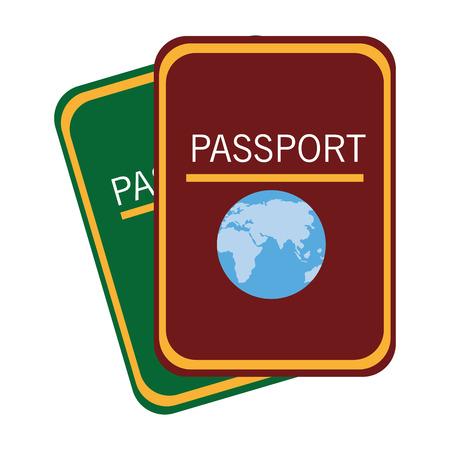 Groene adn rode paspoorten vooraanzicht over geïsoleerde achtergrond, vector illustratie Stockfoto - 59173732