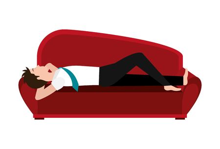red couch: big red couch and avatar man sleeping front view over isolated background, vector illustration