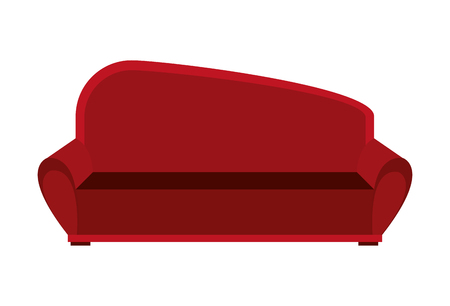 red couch: big red couch front view over isolated background, vector illustration Illustration