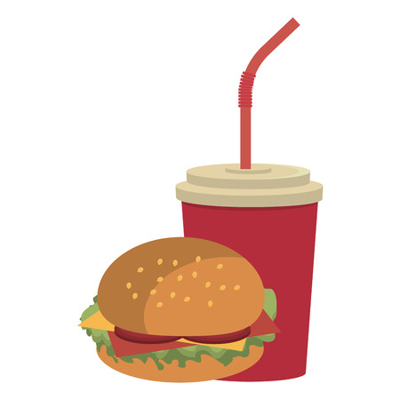 red cup: red cup nd straw with burger front view over isolated background, fast food concept, vector illustration