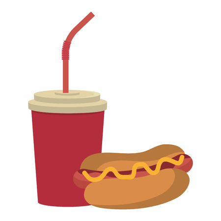 red cup: red cup and straw with hot dog front view over isolated background, fast food concept, vector illustration Illustration