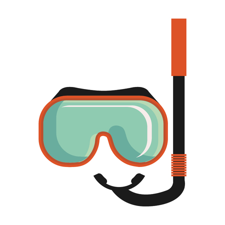 colorful snorkel elements front view over isolated background, vector illustration