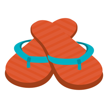 sandals isolated: orange and blue beach sandals over isolated background, summer concept, vector illustration Illustration