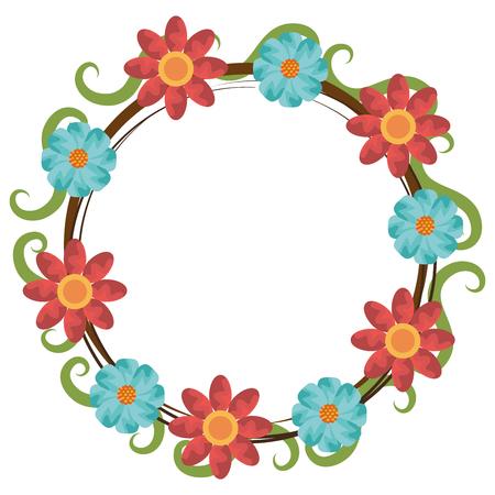 coloré couronne de fleurs sur fond isolé, illustration vectorielle