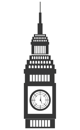 city of westminster: black and white big ben building front view over isolated background, vector illustration
