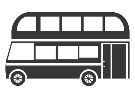 taxi famous building: black british bus side view over isolated background, vector illustration