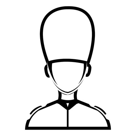 beefeater: avatar human british guard front view over isolated background, vector illustration