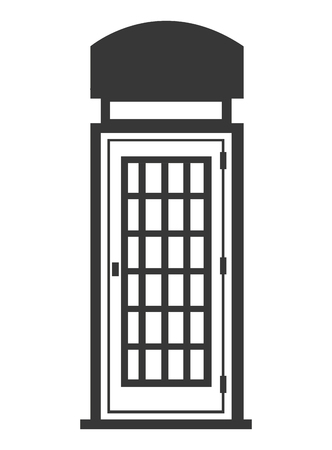 phonebox: black and white british telephone cabin over isolated backgorund, vector illustration