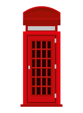 phonebox: red british telephone cabin and black windows front view over isolated background, vector illustration Illustration