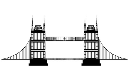 city of westminster: black and white bridge side view over isolated background, vector illustration