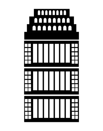 city of westminster: black and white building front view over isolated background, vector illustration