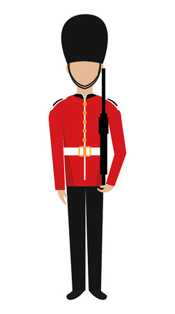 buckingham: avatar human british guard front view over isolated background, vector illustration