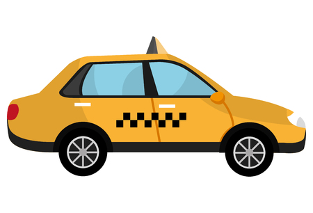 car side: yellow taxi cab car side view over isolated background, vector illustration