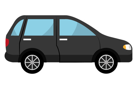 car side view: black SUV car side view over isolated background, vector illustration