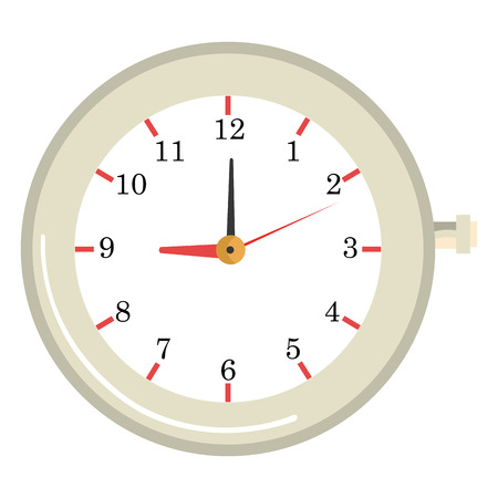 old clock: white old clock front view over isolated background, vector illustration Illustration