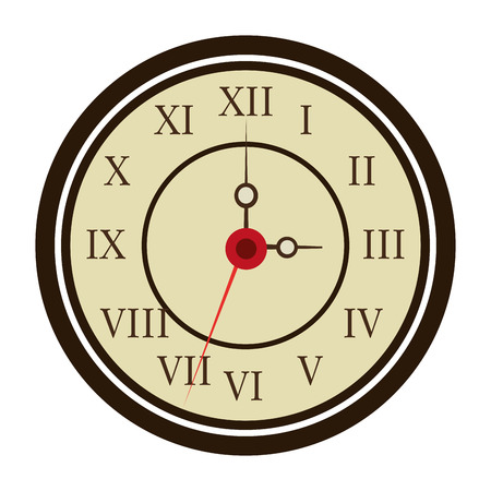 old clock: white black and yellow old clock front view over isolated background, vector illustration