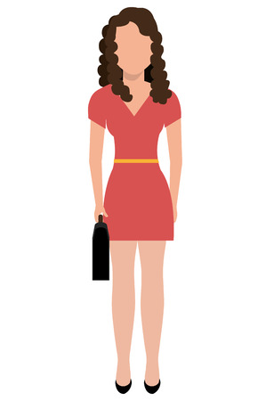 colorful dress: avatar business woman wearing colorful dress front view over isolated background, vector illustration Illustration