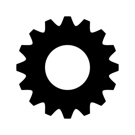 settings: black and white settings icon front view over isolated background, vector illustration
