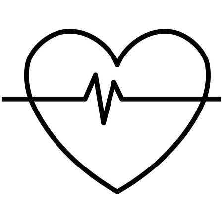 pulse trace: black and white heart design with heart beats icon over isolated background, vector illustration Illustration