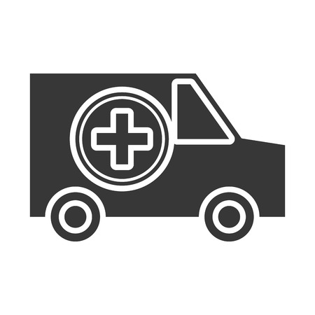 car side: black and white ambulance car side view over isolated background, vector illustration