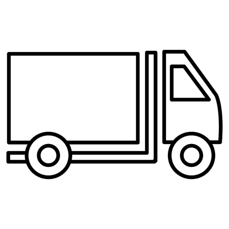 car side: black and white cargo truck car side view over isolated background, vector illustration