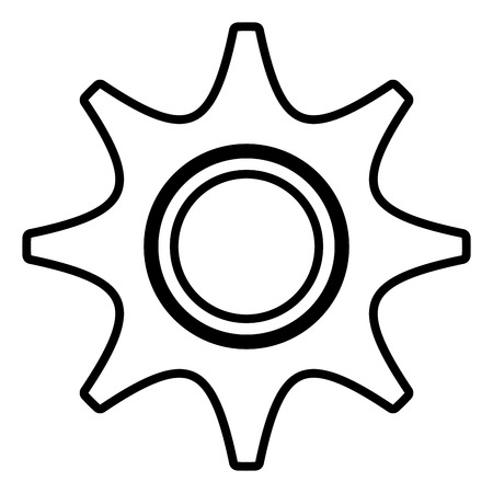 settings icon: black and white settings icon front view over isolated background, vector illustration