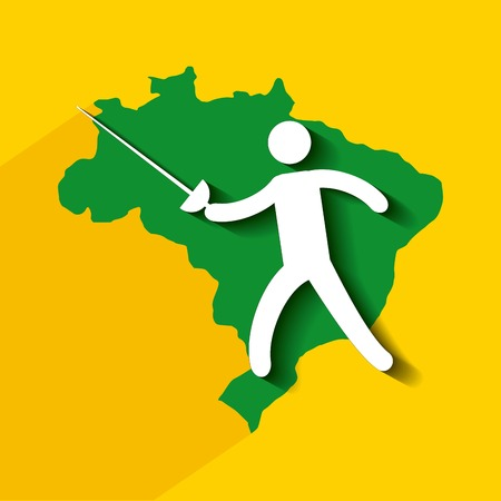 fencing sword: Brazil sports isolated icon design, vector illustration  graphic Illustration