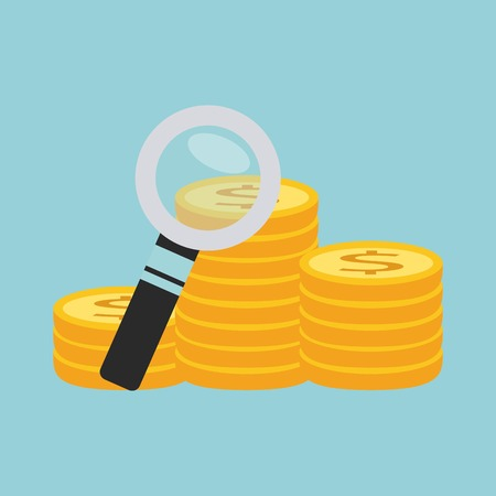 dollar icon: search money with magnifying isolated icon design, vector illustration  graphic