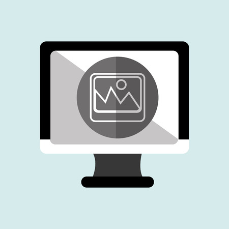 pc monitor: monitor pc with social marketing isolated icon design, vector illustration  graphic