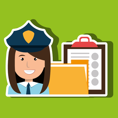 clipboard isolated: police with folder and clipboard isolated icon design, vector illustration  graphic