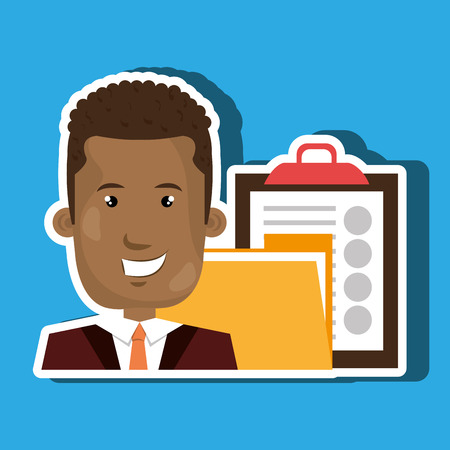 clipboard isolated: man with folder and clipboard isolated icon design, vector illustration  graphic Illustration