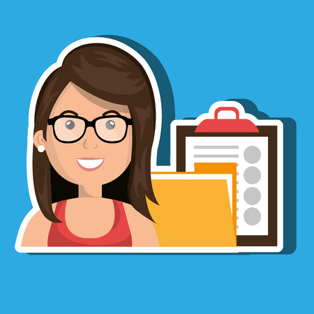 clipboard isolated: woman with folder and clipboard isolated icon design, vector illustration  graphic Illustration