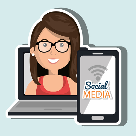 socializing: laptop user with social networking smartphone isolated icon design, vector illustration  graphic