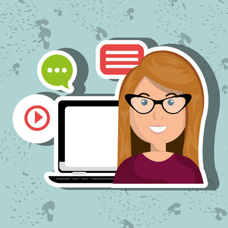 laptop isolated: social networking user laptop isolated icon design, vector illustration  graphic Illustration