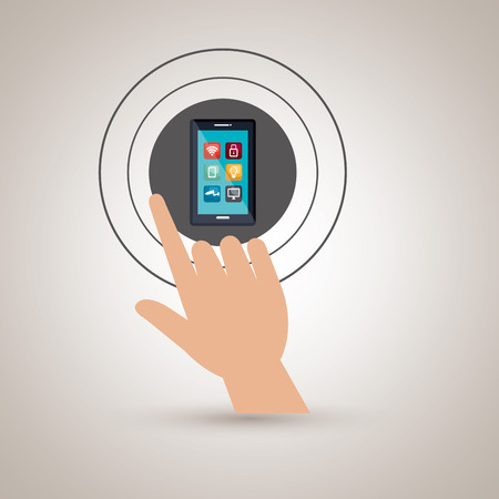 selecting: human hand selecting smartphone menu isolated icon design, vector illustration  graphic