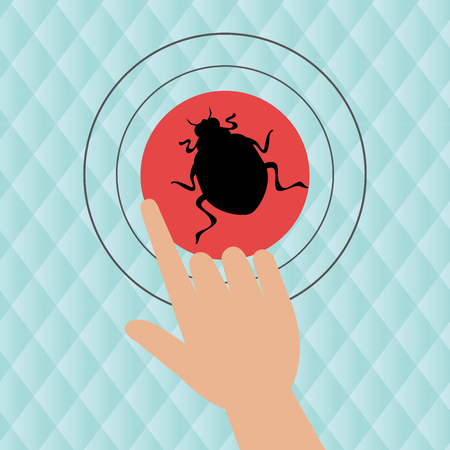 click beetle: human hand selecting isolated icon design, vector illustration  graphic