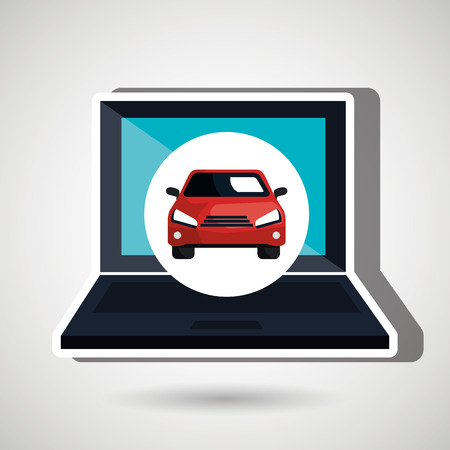 laptop isolated: car in display laptop isolated icon design, vector illustration  graphic