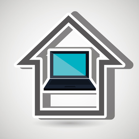 laptop isolated: smart home with laptop isolated icon design, vector illustration  graphic