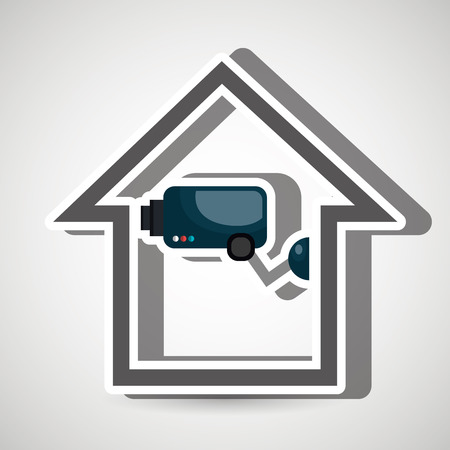 guard house: smart home with camera cctv isolated icon design, vector illustration  graphic