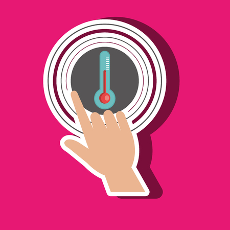 selections: human hand selecting thermometer isolated icon design, vector illustration  graphic
