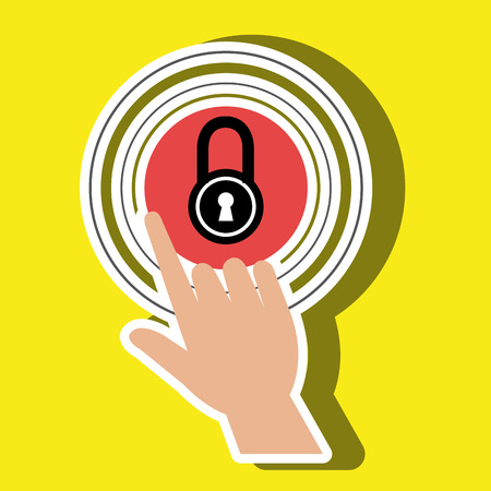 selections: human hand selecting padlockisolated icon design, vector illustration  graphic Illustration