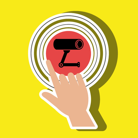 selecting: human hand selecting camera cctvisolated icon design, vector illustration  graphic