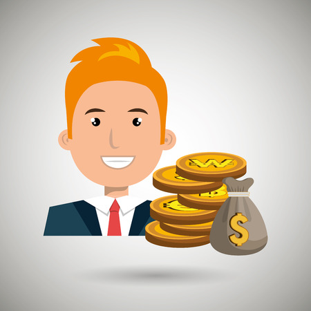 rewarded: man with bag coins isolated icon design, vector illustration  graphic