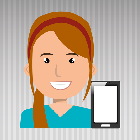 smartphone business: business person with  smartphone isolated icon design, vector illustration  graphic Illustration