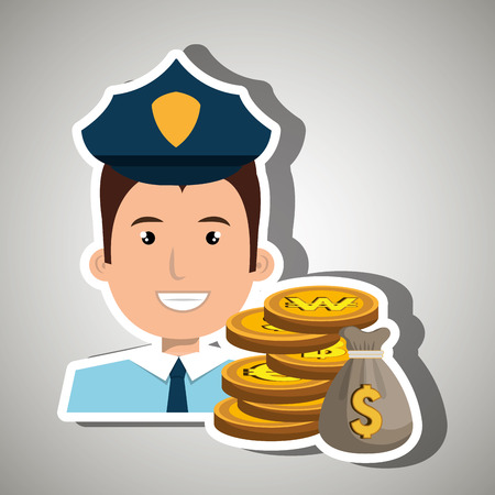 rewarded: police with bag coins isolated icon design, vector illustration  graphic